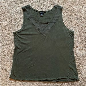 Torrid olive green tank with lace detail